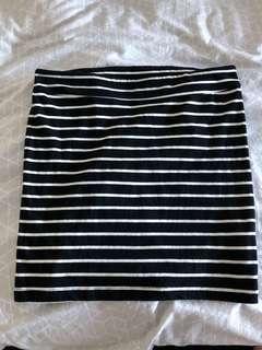 Black and White Stripe Minj Skirt