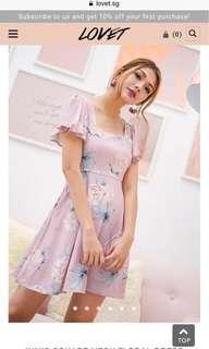 Lovet INNIS SQUARE NECK FLORAL DRESS PINK