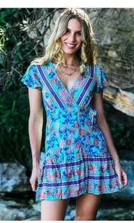 🚚 Pale blue floral boho wrap dress