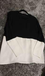 Zara | White and Black Block Top