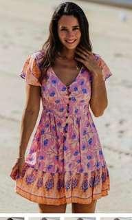🚚 Pink floral print boho dress