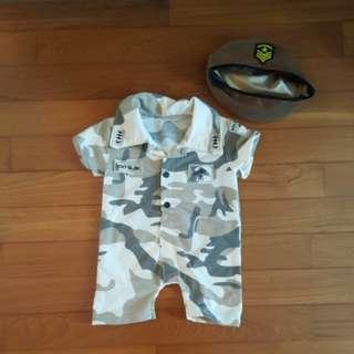 Army soldier romper with hat
