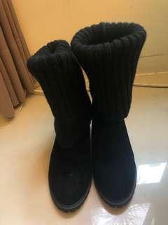 🚚 36碼 麂皮黑色靴  襪套可折長短