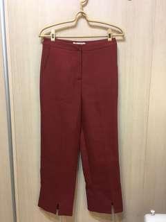 🚚 全新 陸小團團 直筒磚紅褲口開衩西裝褲