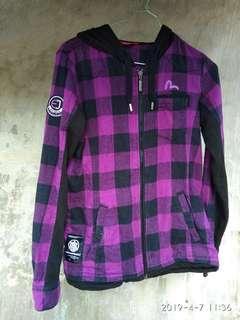 Jaket preloved evisu hoodie sweater flanel purple