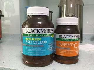 Blackmores Fish Oil (Anti-inflammatory) 400 Caps & Blackmores Buffered C Slow Release Dietary Supplement 200 caps