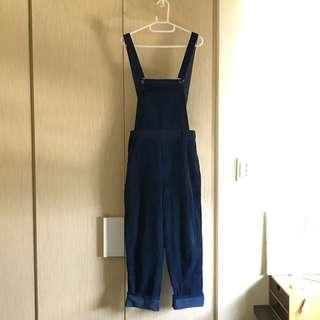 二手/藍色燈芯絨高腰吊帶褲/F Size