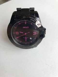 Amazi 黑鋼帶錶 (合小朋友)