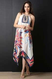 Online Sale: P380 only !!!  💋Unbalanced Hem Printed Summer Dress 💫Blend cloth, soft comfy  💫Spaghetti design, summer vibe  💫Unbalanced hemline  💫Free size fits up to semi L 💫Single color  💫Good quality