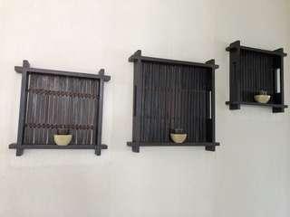 Set of 3 Wooden Trays. 2 Sizes.