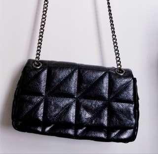 Clutch bag chain bag handbag double chain fake leather 彷皮 袋 手拎袋