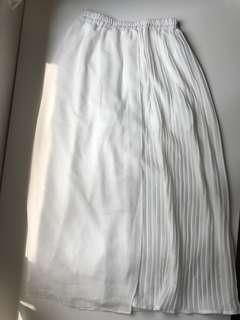 白色文青闊腳褲