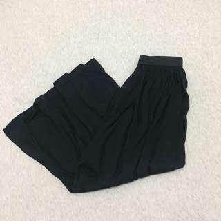 🚚 丨棉質黑色鬆緊軟質長裙丨