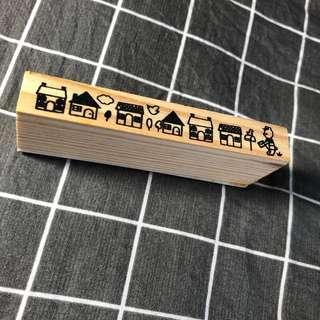 🚚 手帳裝飾木頭印章 小房子
