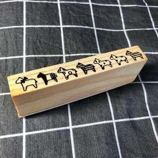 🚚 手帳裝飾木頭印章-小馬
