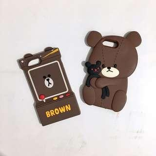 iphone 8plus 7plus 6plus 6splus line bear brown case