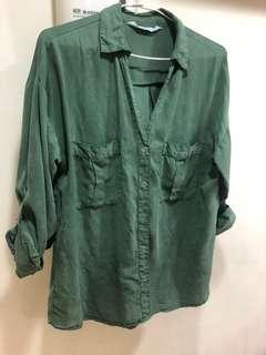 🚚 復古刷舊綠色襯衫