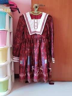 Red trojan horse design lolita dress