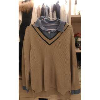假兩件駝色韓風毛線衫 #半價衣服拍賣會