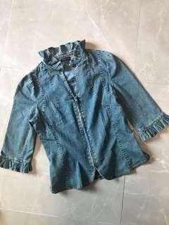公主荷葉邊修身中袖薄牛仔外套 princess ruffles medium sleeves slim cut light denim jacket