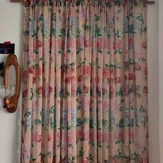 🌹韓國vintage🌹復古深米色玫瑰窗簾 布料