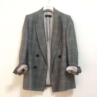 Zara芥末豆綠紫格紋復古墊肩西裝外套
