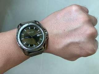 CALVIN KLEIN Earth Green Dial Men's Nylon Watch