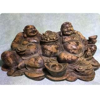 百年樹木 實心雙佛元寶 Happy Buddha Sculpture