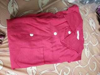 🚚 紅色長袖襯衫