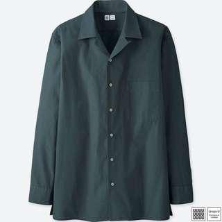 UNIQLO U 開領襯衫(長袖) 深藍