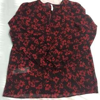 MNG Red Floral Blouse - price is including postage to west Malaysia