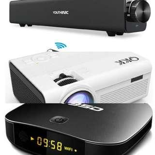 Mini Home Theater Bundle sale (Projector, Soundbar and Android Tvbox)Usual price $200.