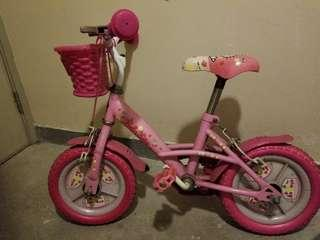 "Hello Kitty bike 12"" with side wheels"
