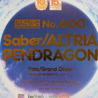 絶版 極罕有 GOOD SMILE NENDOROID 黏土人 600 FATE GRAND ORDER SABER ALTRIA PENDRAGON LIMITED EDITION 亞瑟王