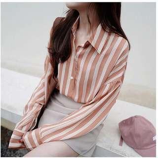 Stripey Long Sleeve Blouse