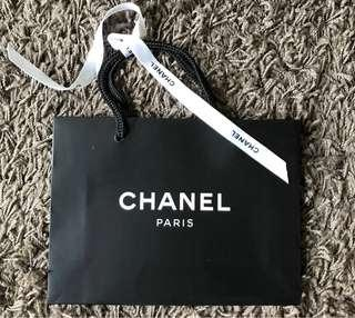 Chanel paper shopping bag with ribbon