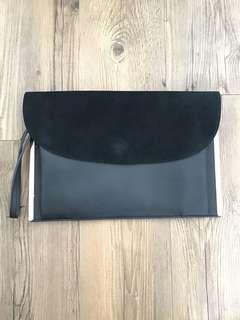 Black velvet PVC Clutch Bag