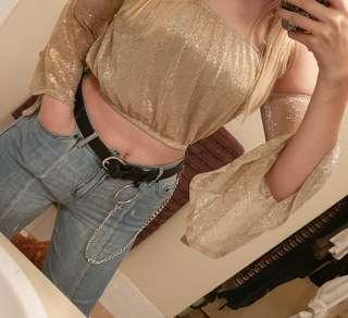 NEW metallic flare crop