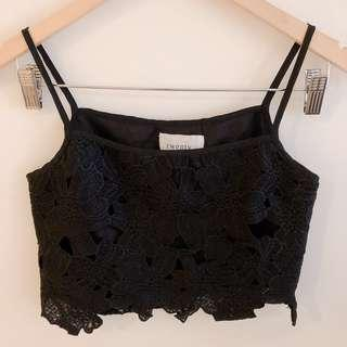 Twenty3 black floral lace crochet crop cami top #SnapEndGame
