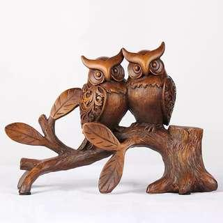 Bookshelf Statue 🦉 Owl Statue Wood Sculpture Wood Carve Owl Sculptures