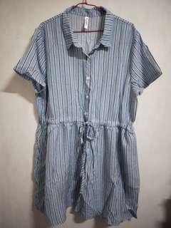🚚 二手衣 Polylulu藍色條紋抽繩縮腰短袖洋裝