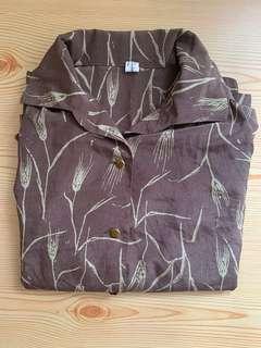 泰國購入🇹🇭全新尼龍啡色民族風透氣裇衫