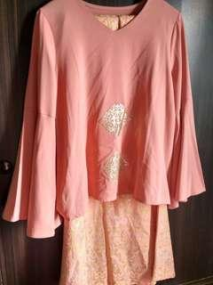 Peach Women Long Sleeve Top Blouse and Songket Print Mermaid Skirt #SnapEndGame