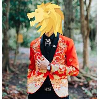 Red Chinese Style Blazer / Jacket