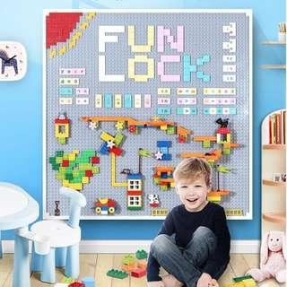 🚚 Build On Wall - Customize Building Block Wall, 8 Pack 1 Square Meter Self Adhesive Building Base Plate, 419 Pieces Compatible with All Major Brand Bricks – Compatible Duplo Fastest and Easiest DIY Fun Wall and Table