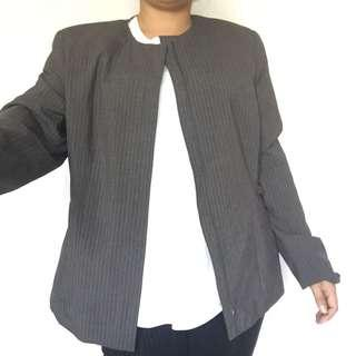 SAG HARBOR GREY STRIPED BLAZER LARGE