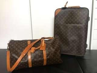 AUTH LOUIS VUITTON PEGASE 55 & KEEPALL 50 PACKAGE SET