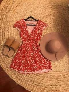 Dress floral wrap mini dress