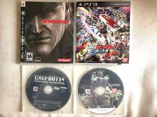 4 隻 PS3 games - MGS4, Gundam x2 , COD4