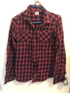 Uniqlo粉紅黑格子襯衫